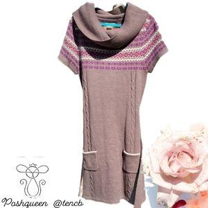 Belle du Jour Cowl Neck Sweater Dress Brown Small